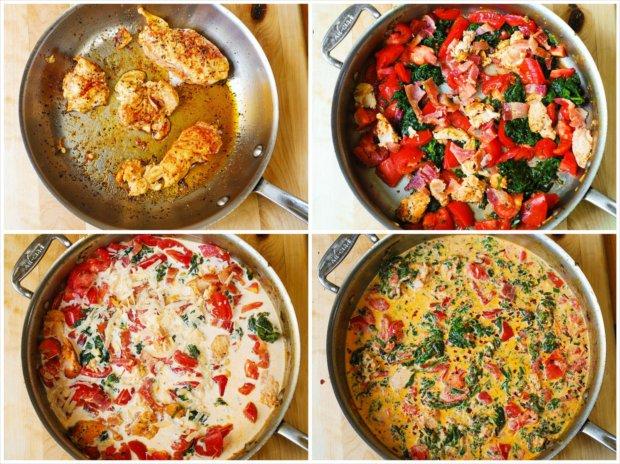 Penne s kuřetem v krémové omáčce s rajčaty a špenátem 2 Foto: