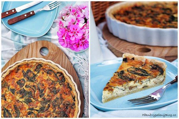 Houbovo-sýrový koláč se smetanou a špenátem 2 Foto: