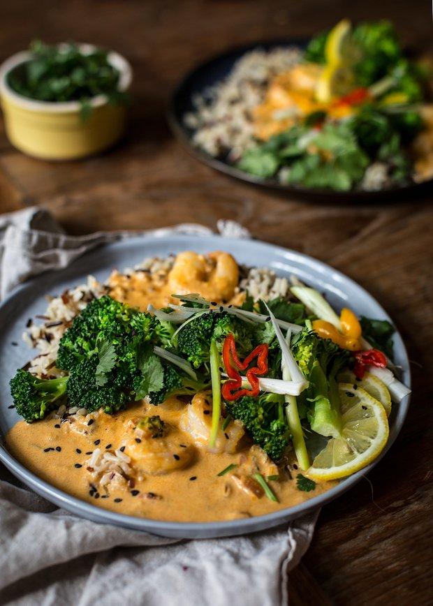 Curry arašídová omáčka s krevetami 2 Foto:
