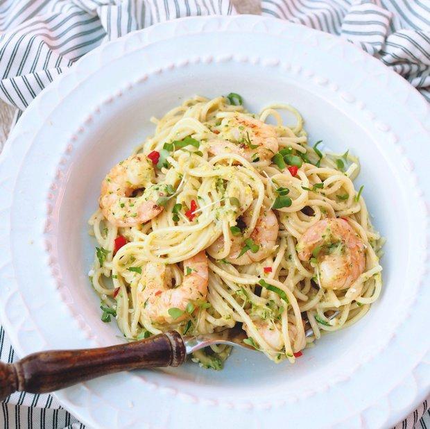 Citronové špagety s krevetami  Foto: