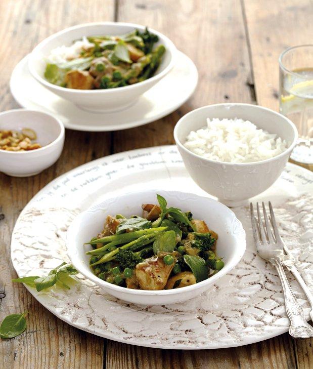 Kuřecí curry se zelenou zeleninou Foto: