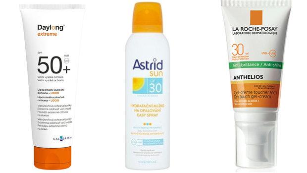 Opalovací mléko Day long SPF 50, Sprej na opalování Astrid SPF 30, Zmatňující krém/gel La Roche-Posay, SPF 30 Foto: