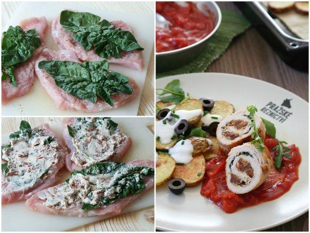Krůtí rolky s rajčatovou omáčkou a salátem z pečených brambor  Foto: