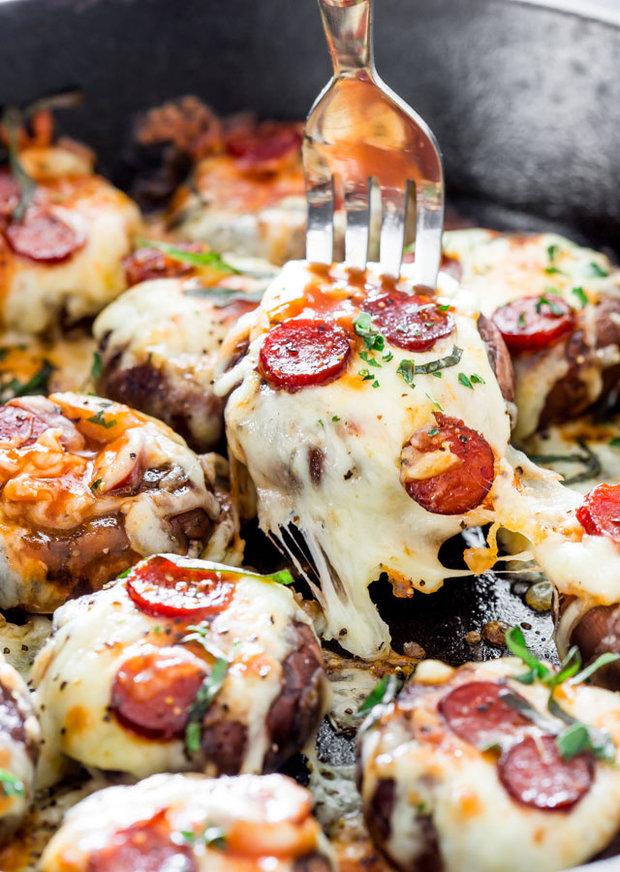 Plněné žampiony ala pizza pepperoni  Foto: