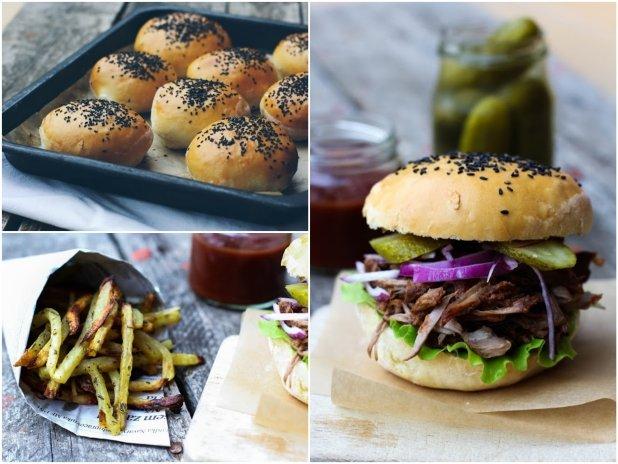 Pulled Pork Burger s pečenými česnekovo-bylinkovými hranolkami Foto: