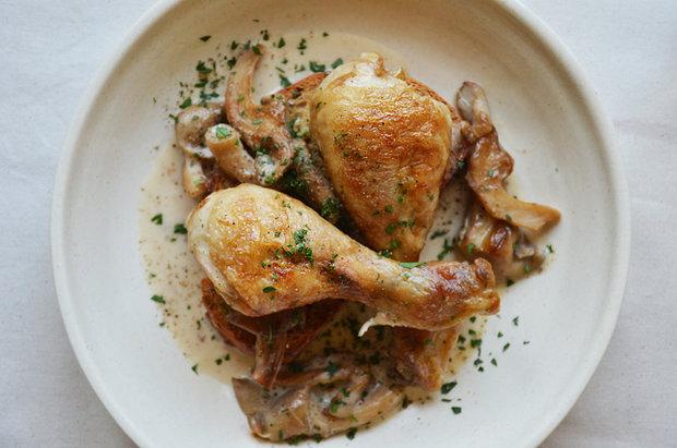 Kuře s hlívou ústřičnou na křupavé topince 2 Foto: