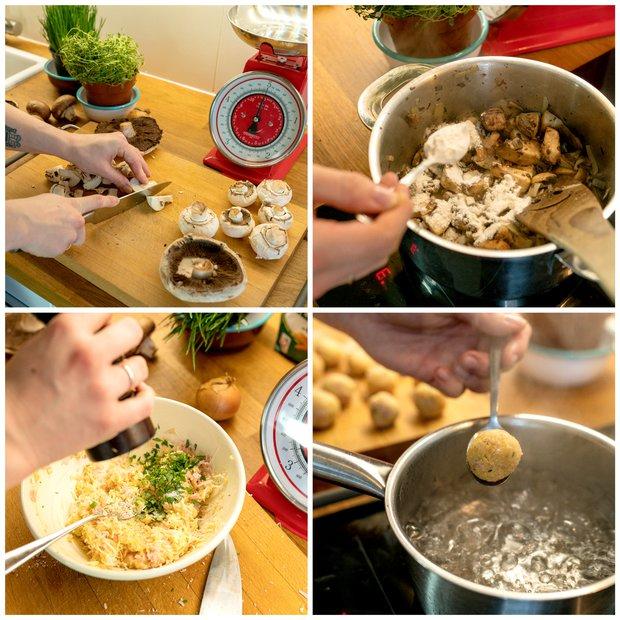 Houbový krém se sýrovo-šunkovými knedlíčky  Foto: